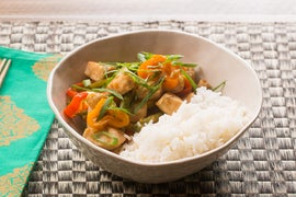 Sweet Chili Chicken with Tinkerbell Peppers, Green Beans & Coconut Rice