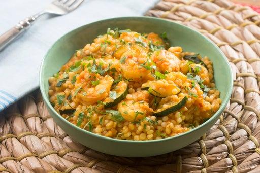 Spiced Shrimp & Pearl Couscous with Sautéed Zucchini