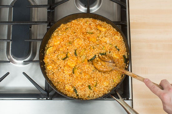 Finish the couscous & plate your dish: