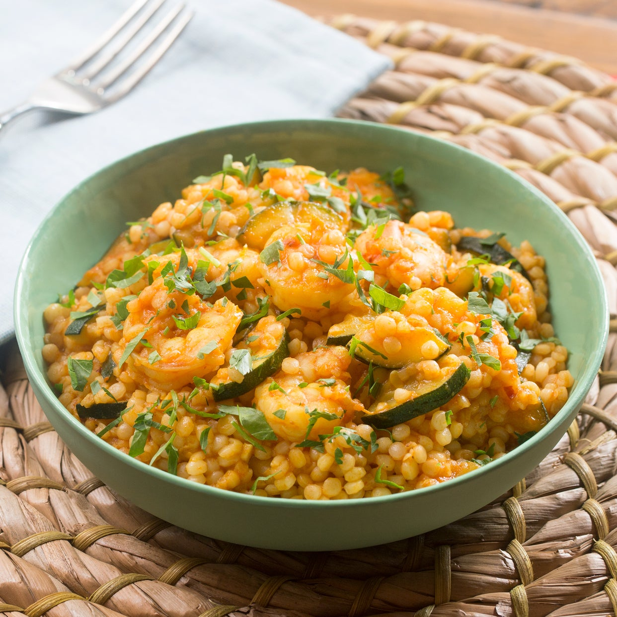 Spiced Shrimp & Pearl Couscous with Sautéed Zucchini