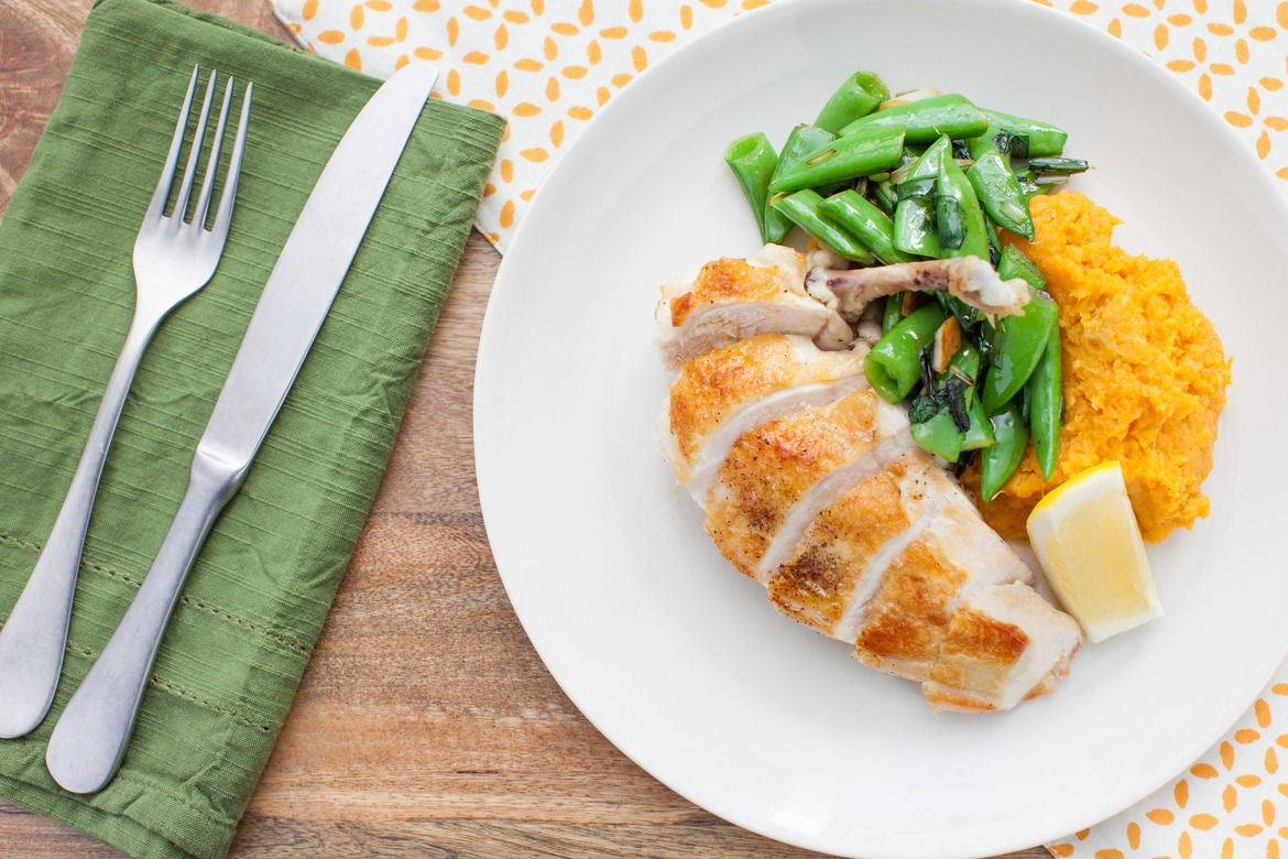 Chicken Supremes with Sautéed Ramps,  Sugar Snap Peas and Mashed Sweet Potatoes