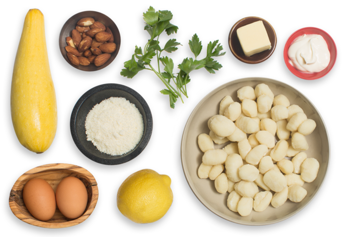 Brown Butter Gnocchi with Summer Squash, Almonds & Soft-Boiled Eggs ingredients