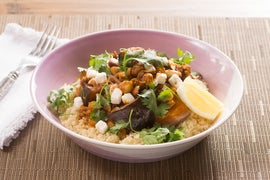 Eggplant Tagine with Couscous, Chickpeas & Feta Cheese