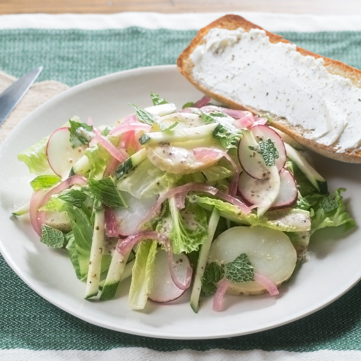 Romaine, Potato & Zucchini Salad with Buttermilk Dressing & Goat Cheese Toasts