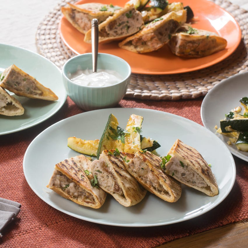 Spiced Turkey Arayes with Garlic-Almond Zucchini Wedges & Lemon-Yogurt Sauce