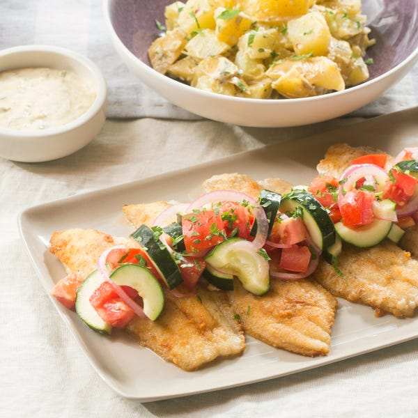 Crispy Catfish & Potato Salad with Marinated Tomato, Cucumber & Red Onion