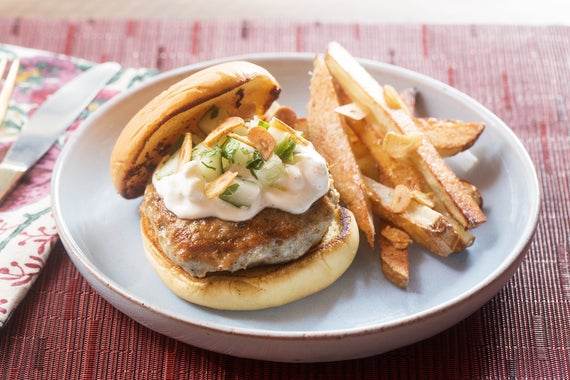 Za'atar Chicken Burgers & Oven Fries with Feta-Labneh ...