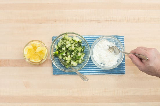 Make the relish & labneh spread: