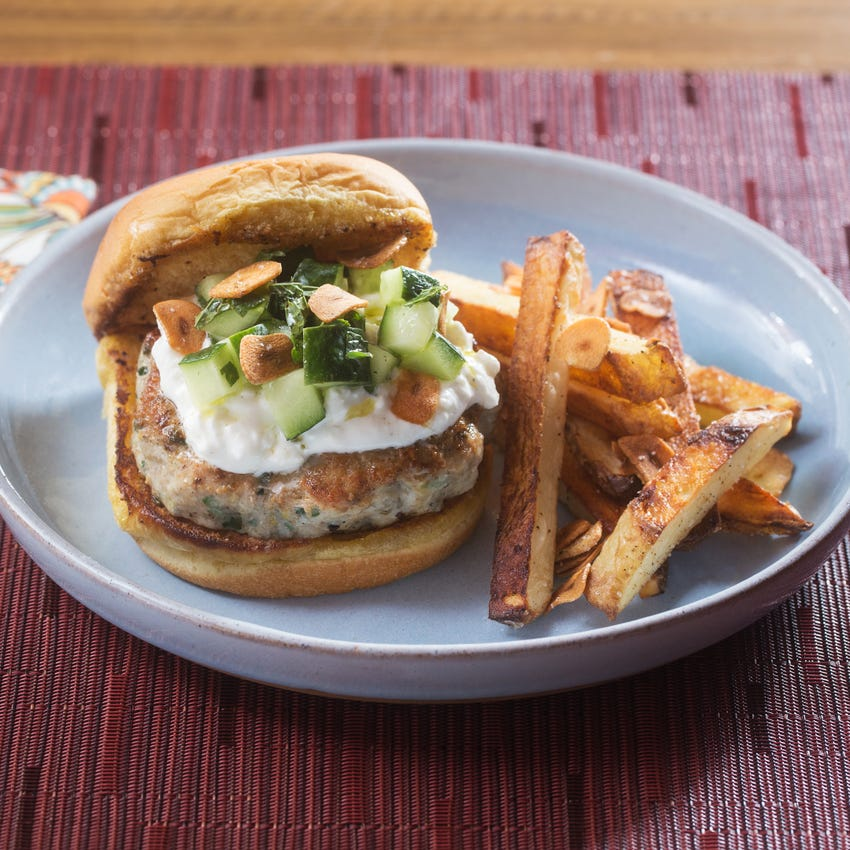 Za'atar Chicken Burgers & Oven Fries with Feta-Labneh Spread & Garlic Chips