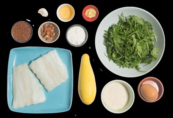 Crispy Cod & Summer Squash with Quinoa & Arugula Salad ingredients