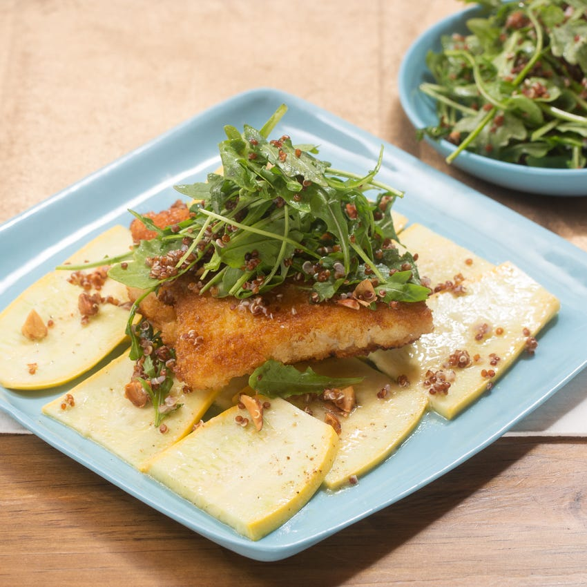 Crispy Cod & Summer Squash with Quinoa & Arugula Salad