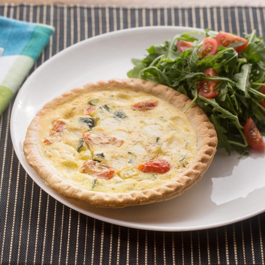 Zucchini & Cherry Tomato Quiches with Tomato-Arugula Salad