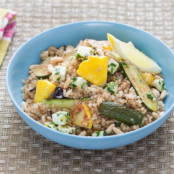 Baby Squash & Toasted Quinoa  with Opal Basil and Marinated Feta