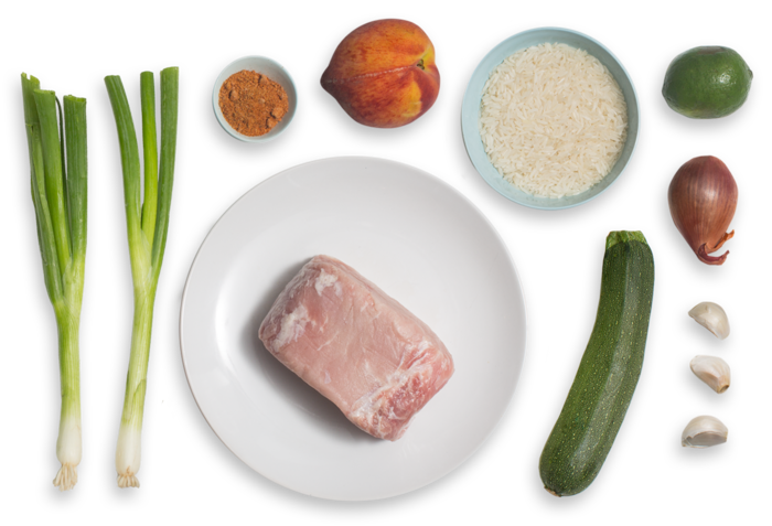 Roasted Pork & Summer Salsa with Zucchini-Scallion Rice ingredients