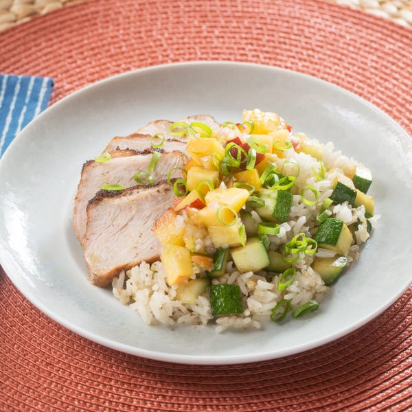 Roasted Pork & Summer Salsa with Zucchini-Scallion Rice