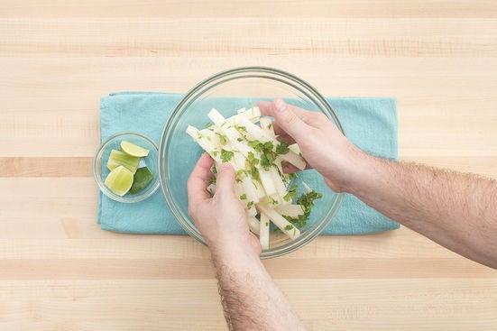 Dress the jicama & plate your dish: