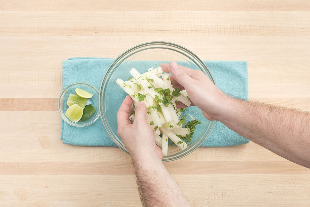 Dress the jicama & plate your dish: