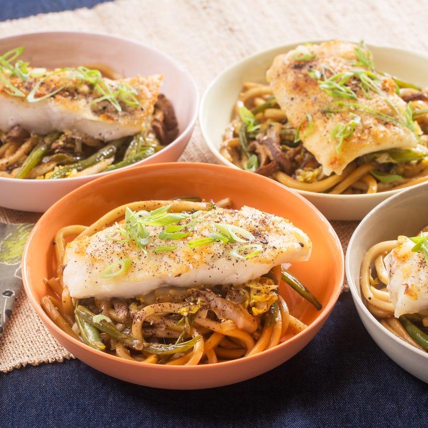 Seared Cod & Fresh Udon Noodles with Shiitake Mushrooms, Green Beans & Furikake
