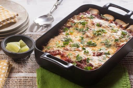 Beef & Summer Corn Enchiladas with Kale & Monterey Jack Cheese