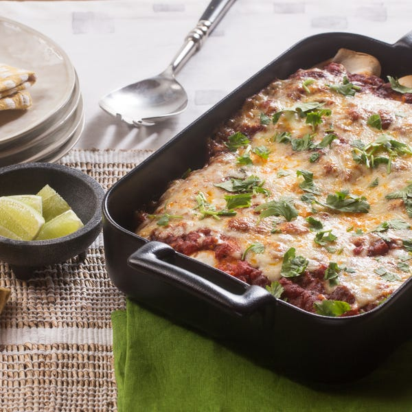 Beef & Summer Corn Enchiladas with Kale & Monterey Jack Cheese