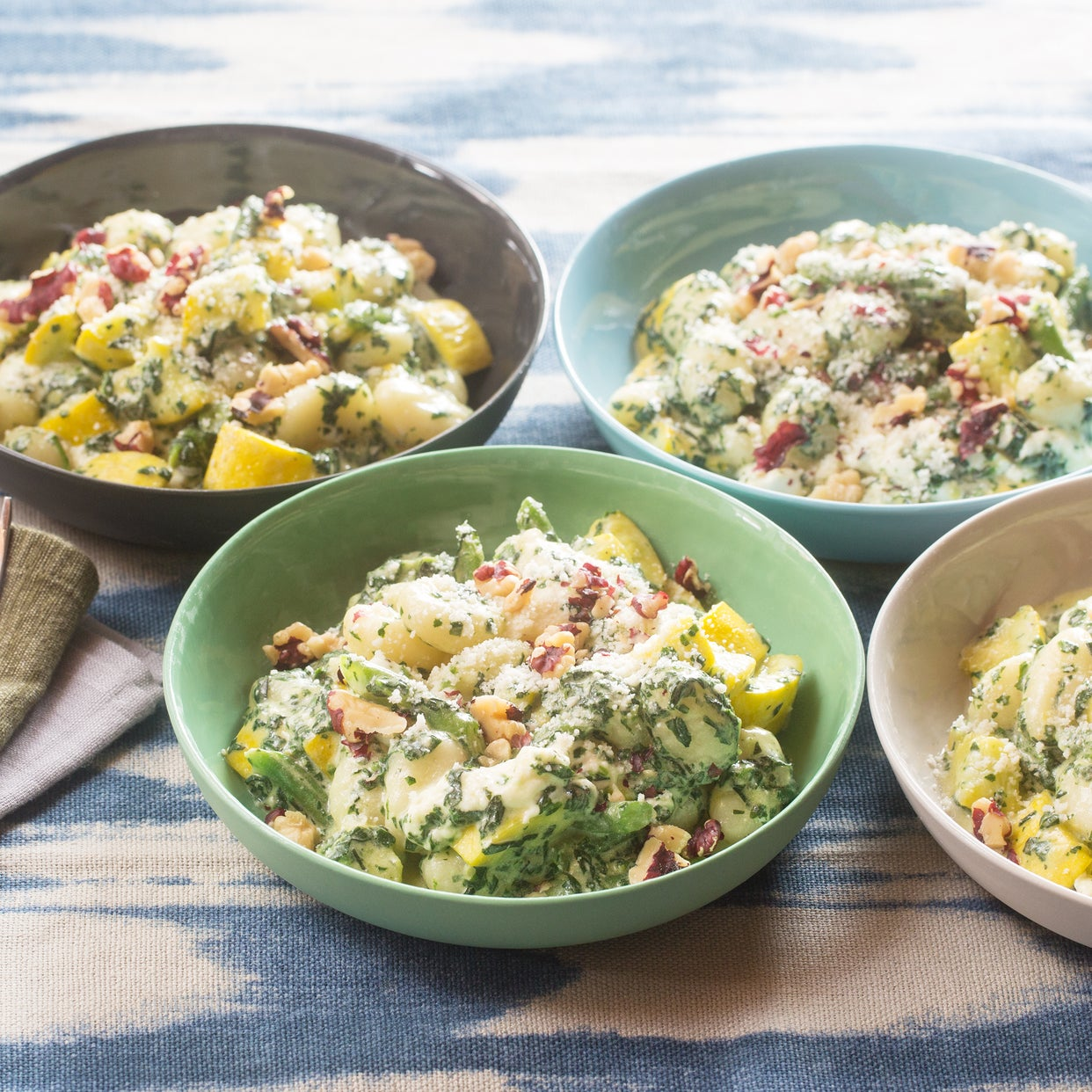 Spinach & Basil Pesto Gnocchi with Summer Squash, Green Beans & Fresh Mozzarella