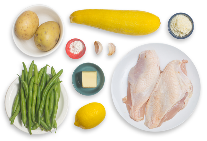 Lemon Chicken & Green Beans with Parmesan-Roasted Summer Squash & Potatoes ingredients