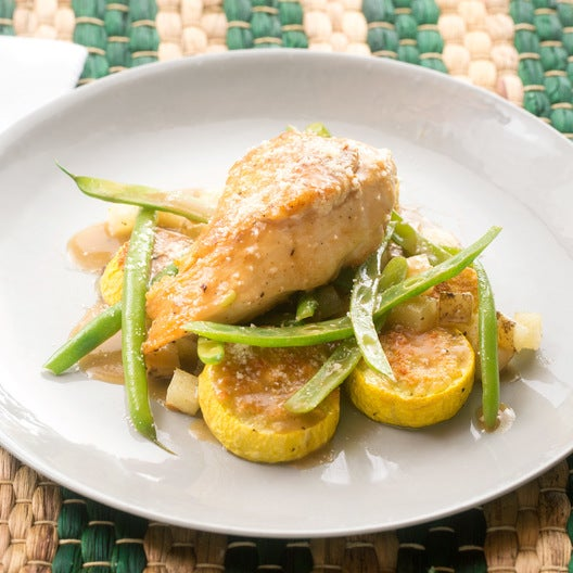 Lemon Chicken & Green Beans with Parmesan-Roasted Summer Squash & Potatoes