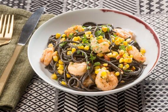 Recipe: Shrimp & Squid Ink Spaghetti with Summer Vegetables - Blue ...