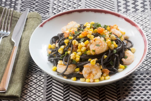 Shrimp & Squid Ink Spaghetti with Summer Vegetables & Mint