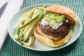 Serrano Pepper & Goat Cheese Burgers with Zucchini-Cilantro Slaw