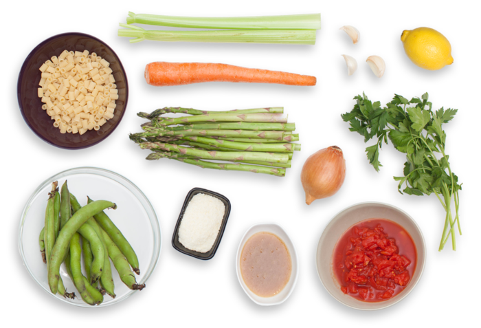Spring Minestrone with Fresh Fava Beans & Asparagus ingredients