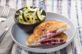 Grilled Goat Cheese & Plum Jam Sandwiches with Endive & Marinated Cucumber Salad