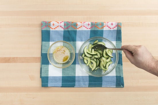 Make the vinaigrette & marinate the cucumber: