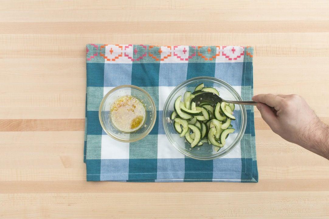 Make the vinaigrette & marinate the cucumber: