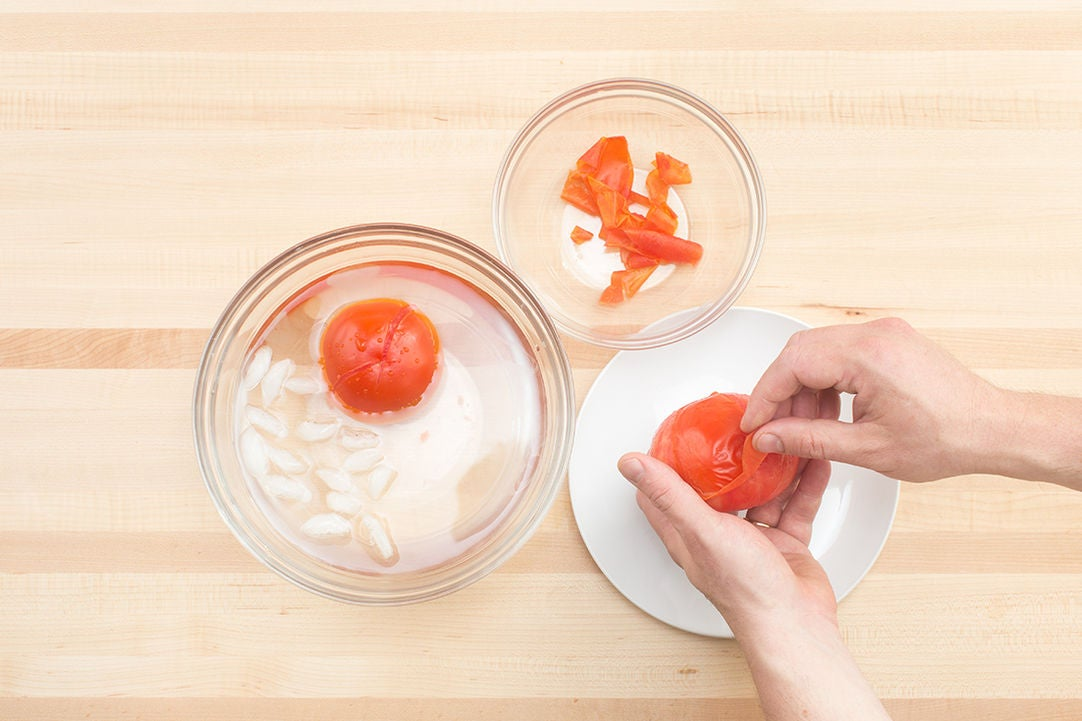 Blanch & peel the tomatoes:
