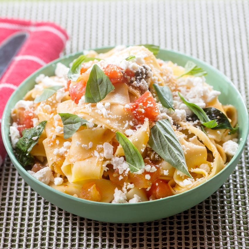 Fresh Pappardelle Pasta with Summer Tomato-Olive Ragù & Ricotta Salata