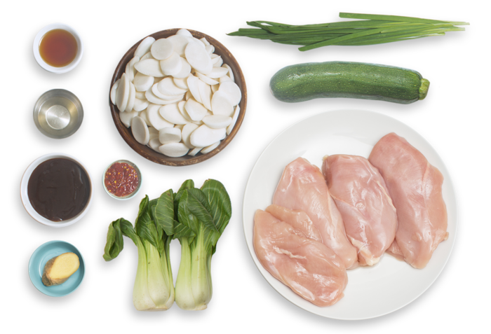 Spicy Hoisin Chicken & Rice Cakes with Garlic Chives & Baby Bok Choy ingredients