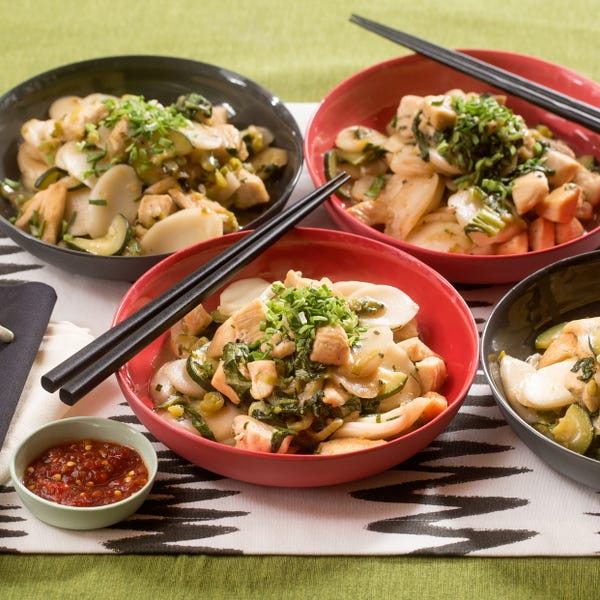 Spicy Hoisin Chicken & Rice Cakes with Garlic Chives & Baby Bok Choy