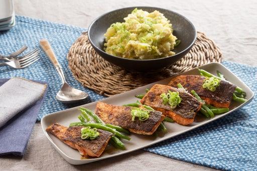 Sweet & Smoky Spiced Salmon with Dijonnaise Potato Salad & Green Beans