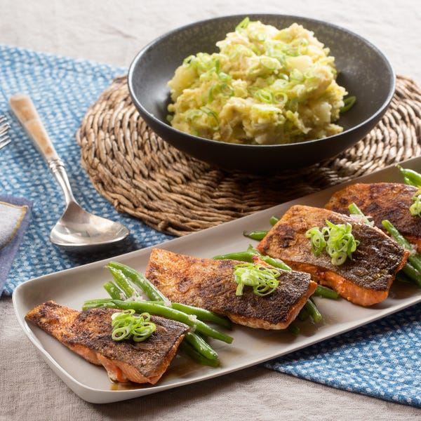 Sweet & Smoky Spiced Salmon with Dijonnaise Potato Salad & Green Beans