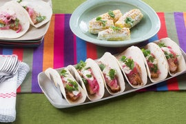Spiced Pork Tacos with Crema, Pickled Onion & Elote-Style Corn