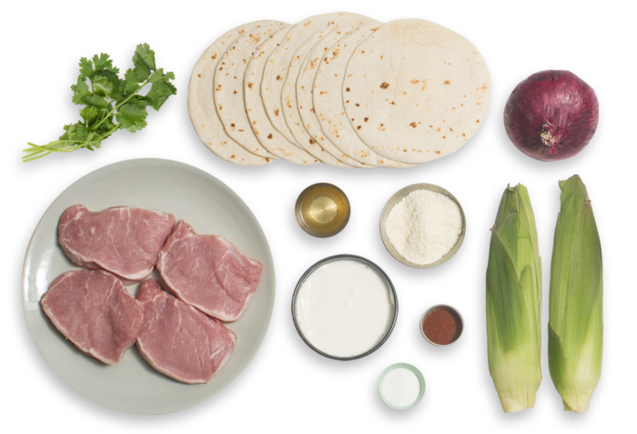 Spiced Pork Tacos with Crema, Pickled Onion & Elote-Style Corn ingredients