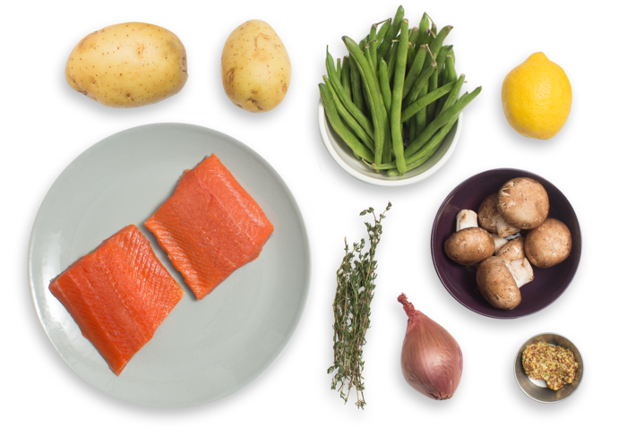 Steakhouse Salmon with Thyme-Sautéed Potatoes, Green Beans & Mushrooms ingredients