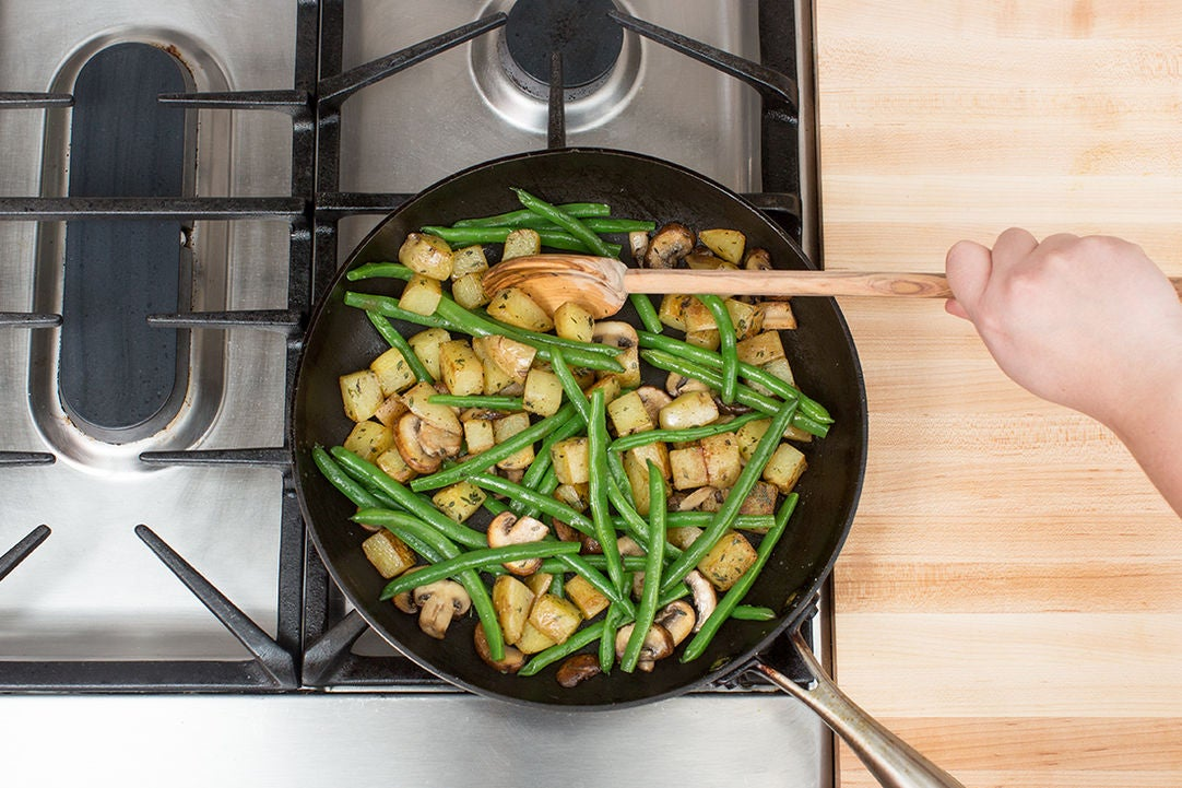 Add the mushrooms & green beans: