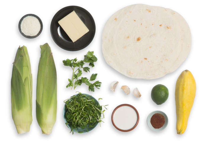 Summer Squash Quesadillas with Elote-Style Corn & Pea Shoots ingredients