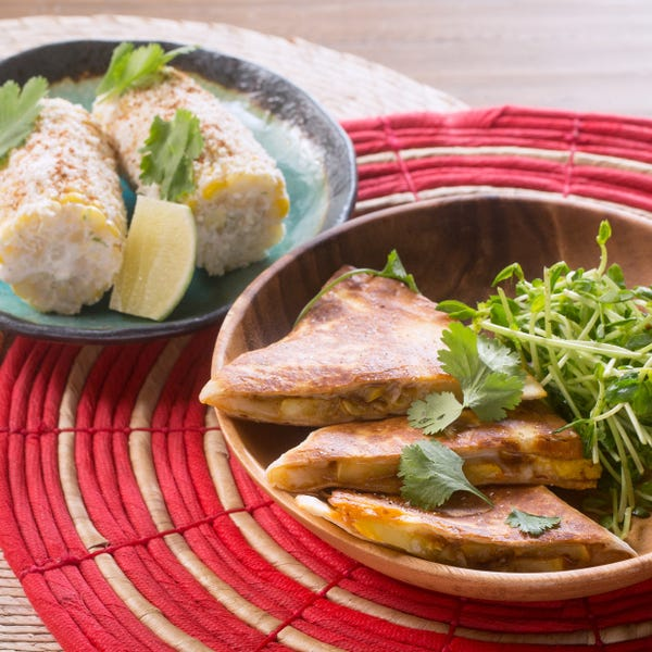 Summer Squash Quesadillas with Elote-Style Corn & Pea Shoots