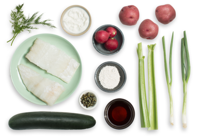 Seared Cod & Potato Salad with Radishes, Crispy Capers & Marinated Cucumber