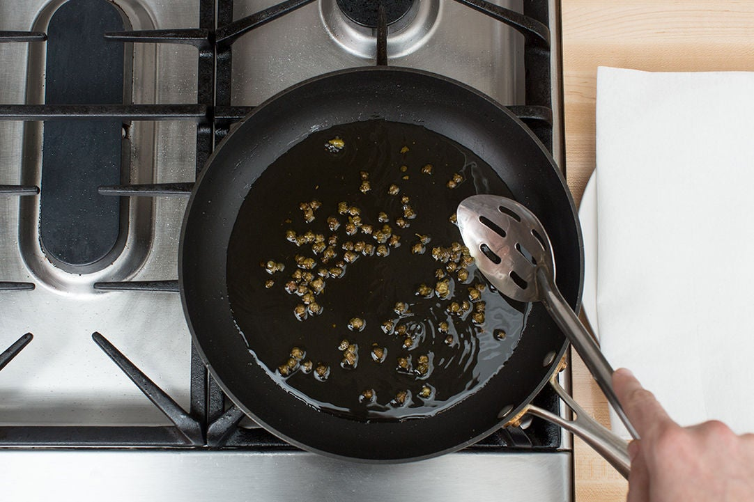 Fry the capers: