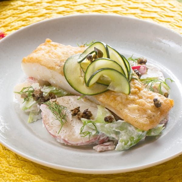 Seared Cod & Potato Salad with Radishes, Crispy Capers & Marinated Cucumber