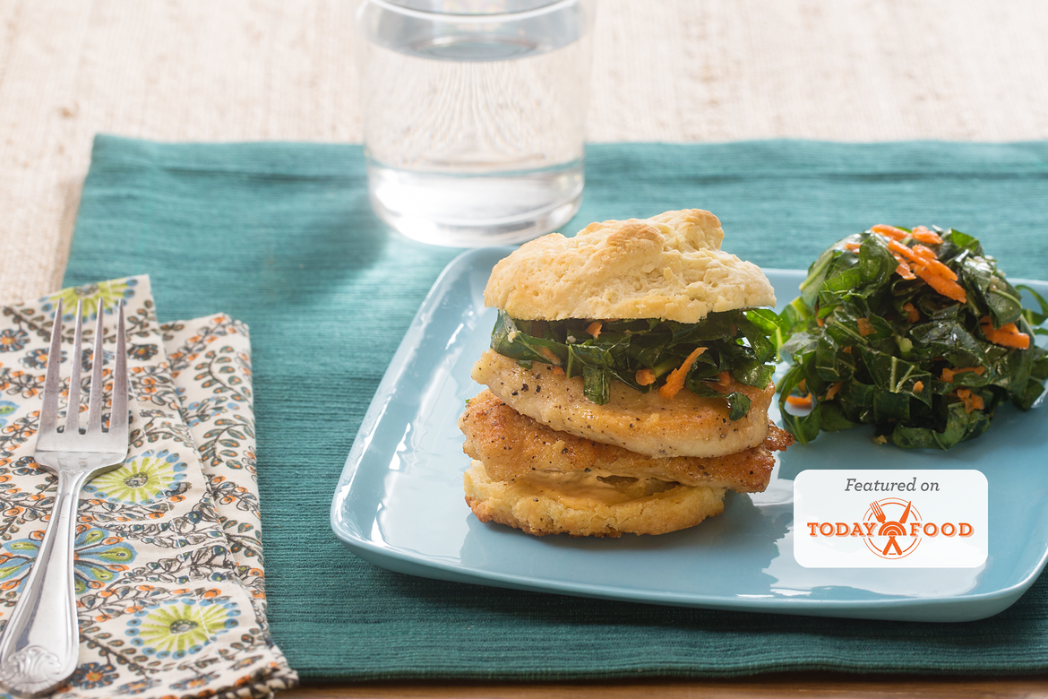 Chicken & Buttermilk Biscuit Sandwiches with Shredded Collard Green & Carrot Slaw